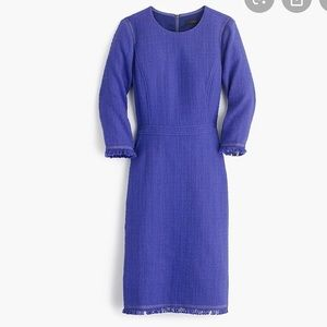 J crew purple fringe long sleeve tweed dress